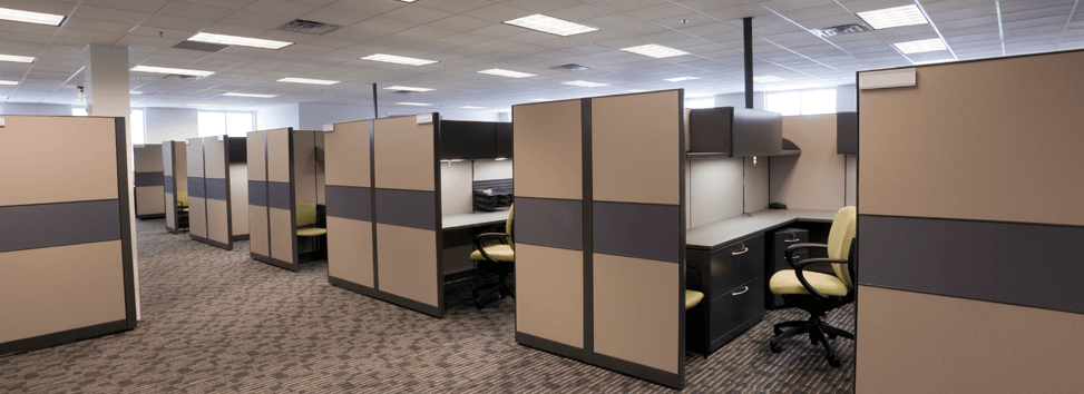 Traditional office cubicles.